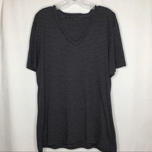 Theory Short Sleeve V Neck Navy Striped T Shirt